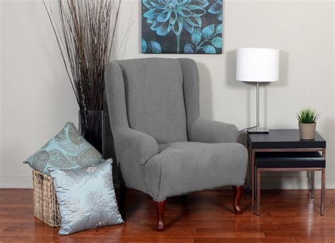 Grey Wingback Chair Slipcovers by Blue Fabric Back Wing Chair With Arm Rest Combined With