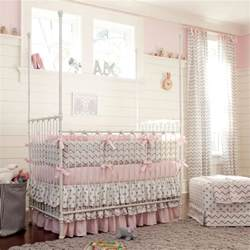 Pink Crib Bedding by Pink And Gray Chevron Crib Bedding Carousel Designs