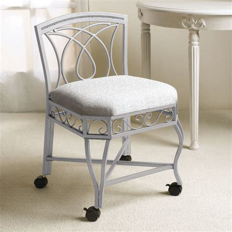 bedroom inspiring vanity chair with rustic white iron material designed with cozy seat pad and