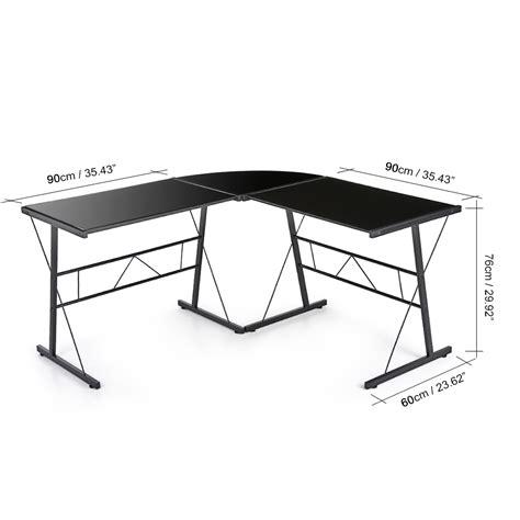 bureau d angle en verre tremp 233 noir interougehome