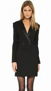 Lyst - Dkny Long Sleeve Tuxedo Dress in Black