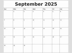 September 2025 Printable Blank Monthly Calendar