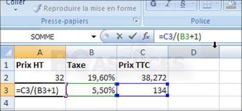 pc astuces calculer un prix ht ou ttc excel