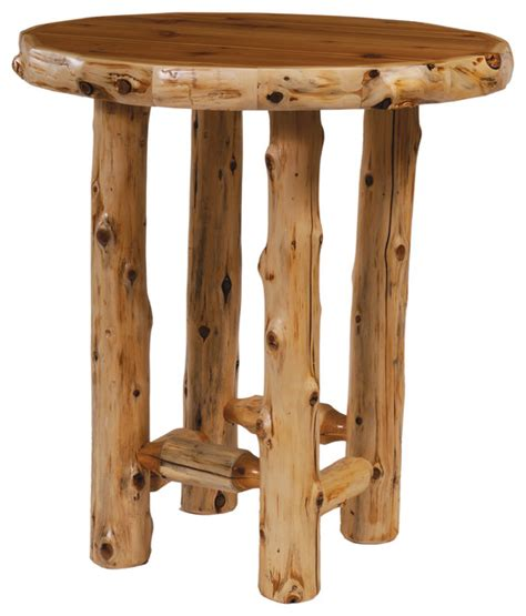 Fireside Lodge  Cedar Pub Table, Round With Standard
