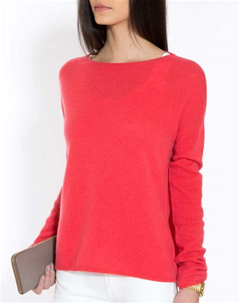 Red Cashmere Boat Neck Sweater oversized cashmere boat neck sweater maisoncashmere