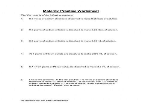 Mole Calculation Practice Worksheet Homeschooldressagecom