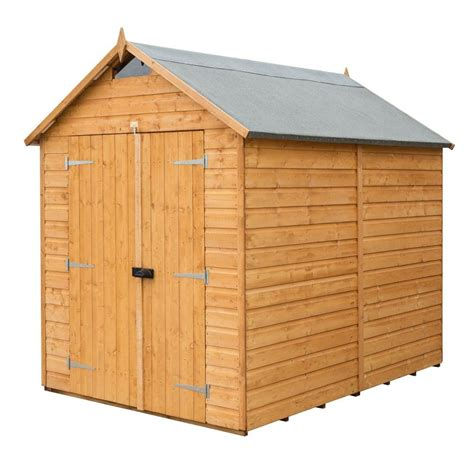 bosmere 6 ft w x 8 ft d wood secure storage shed a053