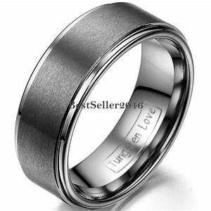 8mm Wedding Band Matte Center Comfort Fit Men's Jewelry ...