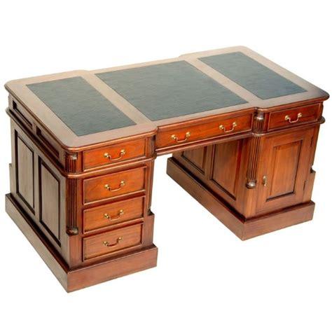 bureau anglais acajou plateau noir oxford meuble de style