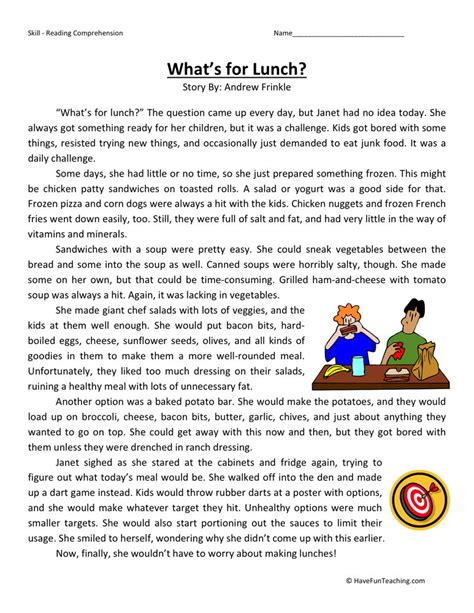 Reading Comprehension Worksheets For Third Graders  Third Grade Reading Comprehension