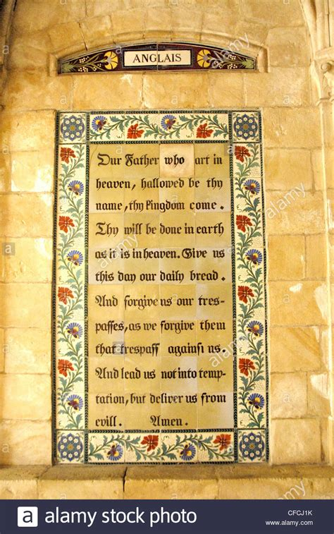 the lord s prayer plaque in in the church of the pater noster stock photo royalty free