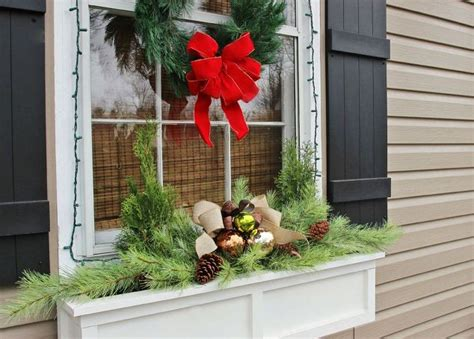 Easiest Christmas Window Box Idea Ever! Rectangle Wood Coffee Table Small Drop Leaf With 2 Chairs Grey Tables Gathering Holders Grill Side Rustic Sofa Folding Changing