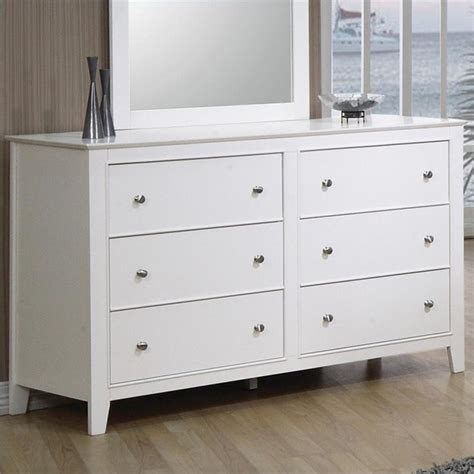 6 drawer dresser white coaster selena 6 drawer dresser in white finish