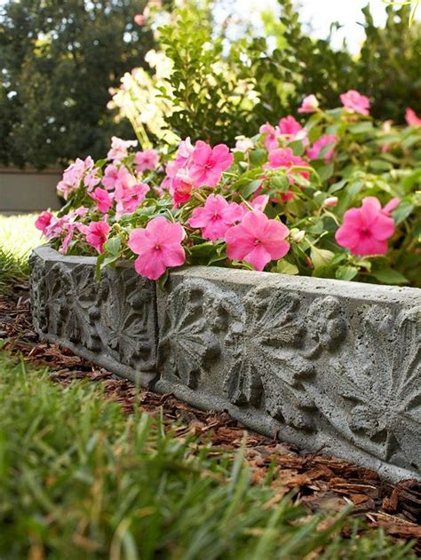 Concrete Flower Garden Borders cast in diy landscape accent gardens bags and