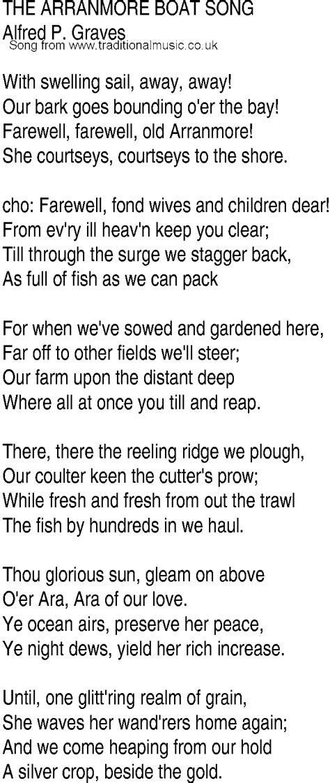 Irish Boat Song by Irish Music Song And Ballad Lyrics For Arranmore Boat Song
