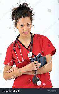 Attractive Young Biracial Woman In Red Medical Scrubs ...
