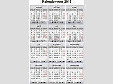 Datum Vandaag Kalender 2019 DatumJaar Kalender 2019