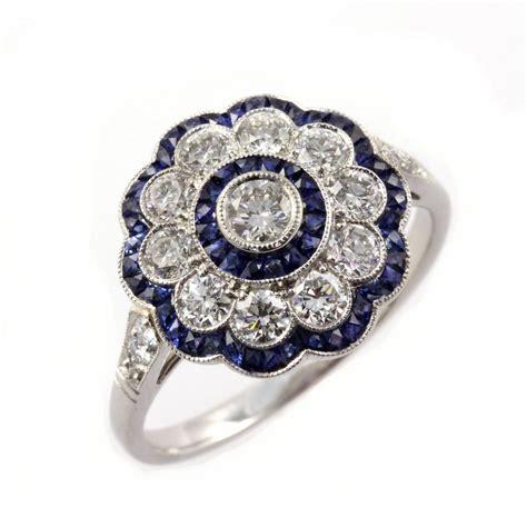 sheldon bloomfield platinum sapphire flower cluster deco style ring sheldon