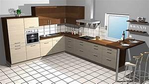 Kleine Küche Mit Theke : kitchenclick musterk che l k che in holz optik mit theke ausstellungsk che in von ~ Markanthonyermac.com Haus und Dekorationen