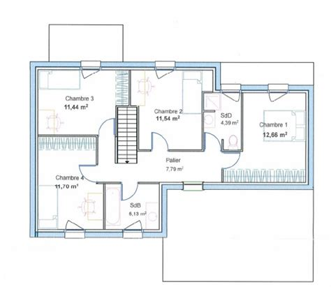 formidable plan maison etage 4 chambres gratuit 3 plan maison cubique etage cubique plans de