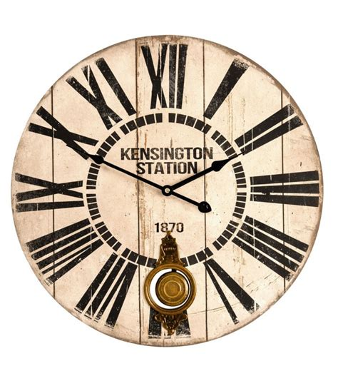 grande horloge murale avec balancier en bois kensington station wadiga