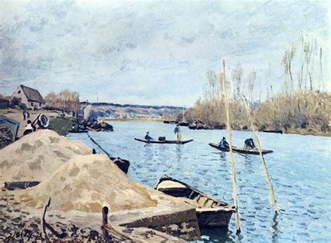 the seine at port marly sand piles alfred sisley wikiart org encyclopedia of visual arts
