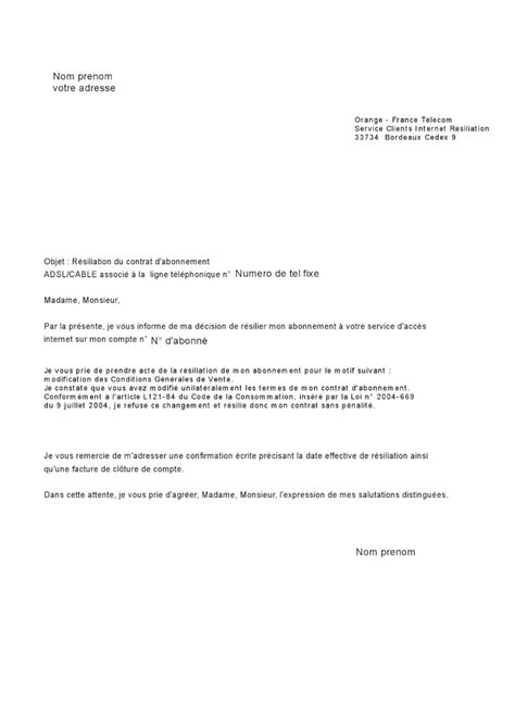 modele resiliation contrat salle de sport document