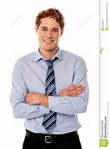 Young Successful Businessman Smiling, Posing With Crossed ...