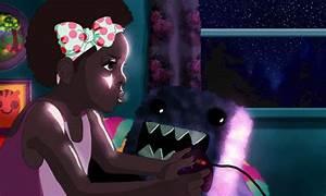 gif drawing Illustration anime kawaii black girl bow ...
