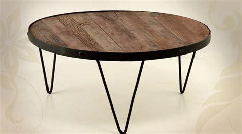 grande table basse ronde en fer forg 233 et bois massif 216 90 cm