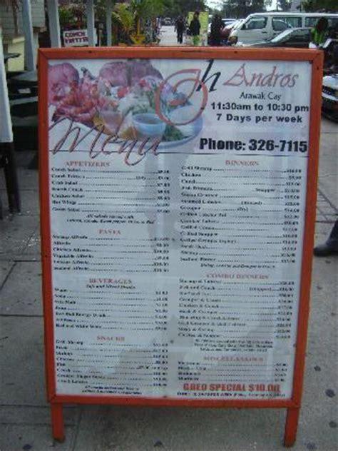 menu picture of andros the fish fry nassau tripadvisor
