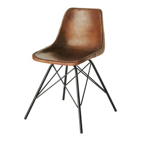 chaise indus en cuir et m 233 tal marron austerlitz maisons du monde
