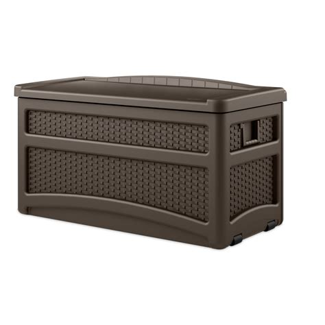 shop suncast 46 in l x 23 5 in w 73 gallon java brown resin deck box at lowes