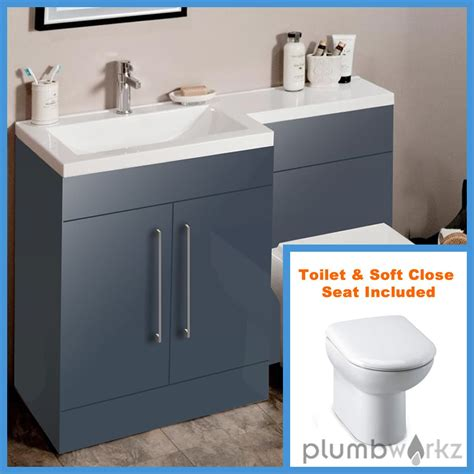 l shape anthracite bathroom furniture suite basin btw