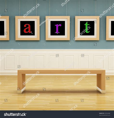 Modern Art Gallery With Wooden Bench  Rendering Stock