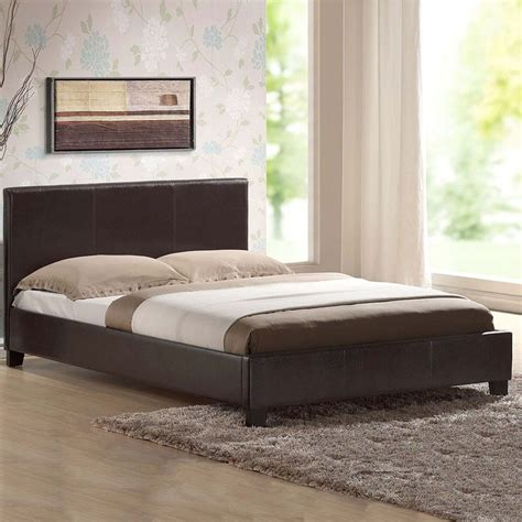 New Bed In A Boxleather Bed Blackbrown With Memory Foam
