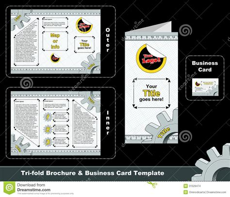 Tri Fold Business Cards Template by Tri Fold Depliant And Business Card Template Stock Images