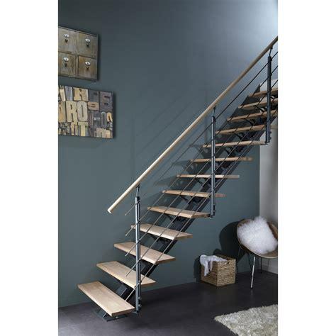 escalier droit mona marches structure aluminium gris leroy merlin
