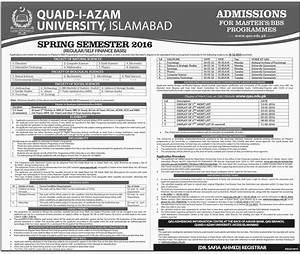 Quaid-I-Azam University Admissions in Bachelors and Master ...