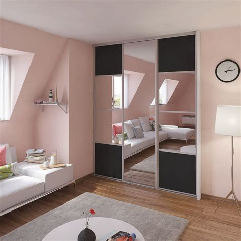 porte de placard coulissante gris graphite miroir spaceo l 67 x h 250 cm leroy merlin