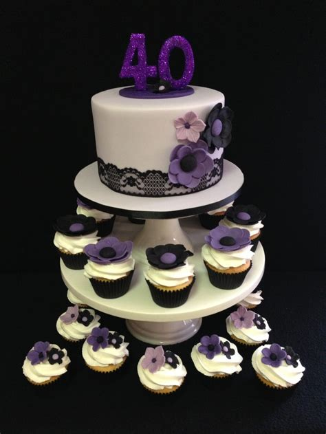 40th birthday cake and cupcakes color combination of