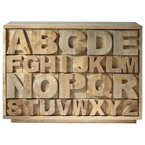 cabinet de rangement en manguier l 120 cm alphabet maisons du monde