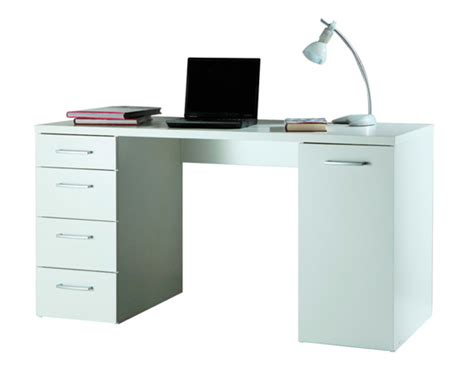 bureau 1 porte et 4 tiroirs consuelo blanc