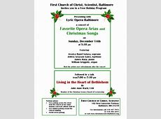 Christmas Program – Concert, Refreshments, Meet and Greet
