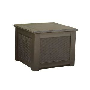 Rubbermaid Deck Box Home Depot rubbermaid rattan 56 gal resin storage cube deck box