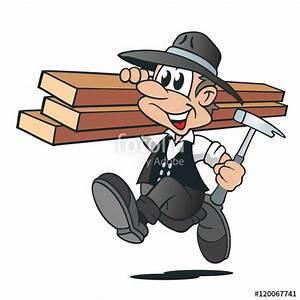 Bilder Hausbau Comic : cartoon zimmermann holzbalken hammer stockfotos und lizenzfreie vektoren auf ~ Markanthonyermac.com Haus und Dekorationen