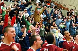 Enthusiastic fan support at high school basketball games ...