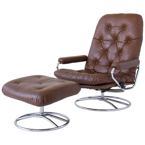 ekornes stressless chair and ottoman at 1stdibs