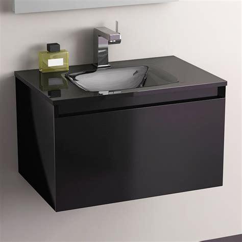 meuble salle de bain noir 60 cm tiroir plan verre glass