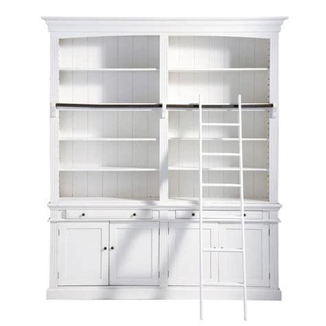 biblioth 232 que avec 233 chelle en bois blanche l 200 cm amandine maisons du monde